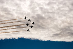Six   Aircrafts  in  the  sky. Aerobatics. MAKS-2015. The patterns in the sky Stock Photos