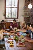 Six amis faisant un pain grillé à un dîner, vertical Image libre de droits