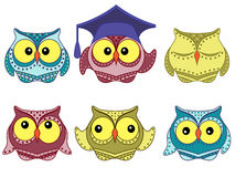 Six amusing colorful owls Stock Photo