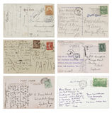 Six antique handwritten Postcards. Set of six antique postcards with text. From various countries around the world Stock Photo