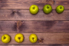 Six Apples on the table Royalty Free Stock Photos