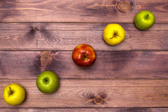 Six Apples on the table Stock Image