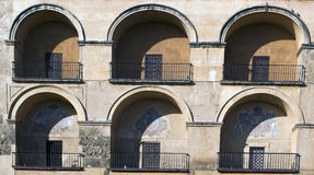 Six arches. Of the mosque of Cordoba with its balcony and the door Royalty Free Stock Photography
