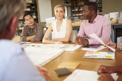 Six Architects Sitting Around Table Having Meeting Stock Images