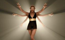 Six arm sorceress. Quality 3d illustration of a 6 arm elf sorceress Royalty Free Stock Image