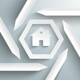 Six Arrows Hexagon Infographic House PiAd Stock Photo