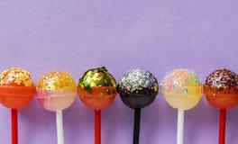 Six Assorted-color Lollipops stock image
