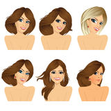 Six attractive caucasian women faces Stock Photo