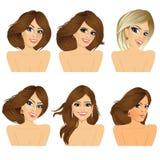 Six attractive caucasian women faces Stock Photo
