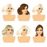 Six attractive caucasian women faces Stock Photos