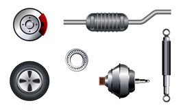 Six auto parts set Stock Photography