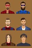 Six avatars de caractère d'hommes Image libre de droits
