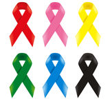 Six awareness ribbons Stock Images