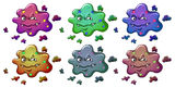 Six bacteria-like monsters Royalty Free Stock Photos
