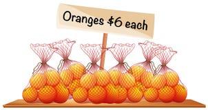 Six bags of fresh oranges. Illustration royalty free illustration
