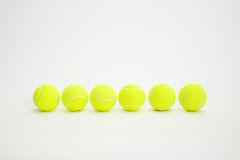 Six balls. Of tennis on white background Stock Photo