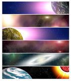 Six banners for website 15. Six banners for website on space and galaxy theme Royalty Free Stock Photo