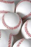 Six baseballs. On white background close-up showing seams Stock Photo