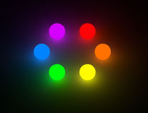 Six basic color glowing balls Royalty Free Stock Photography