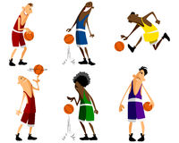 Six basketball players Royalty Free Stock Photo