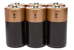 Six batteries. On a white background it is isolated Royalty Free Stock Photos