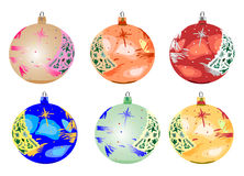 Six baubles for Christmas Royalty Free Stock Photo