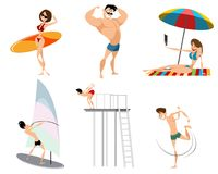 Six beach characters Royalty Free Stock Image