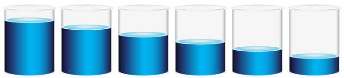 Six beakers. Illustration of the six beakers on a white background Stock Photo