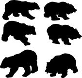 Six bear silhouettes Royalty Free Stock Image