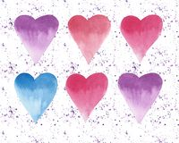 Six beautiful hearts spray watercolor hand sketch Stock Photography