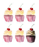 Six beautiful tender cute delicious tasty yummy summer dessert cupcakes with red cherry Royalty Free Stock Photos