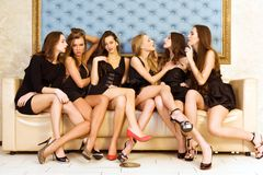 Six beautiful women Stock Images
