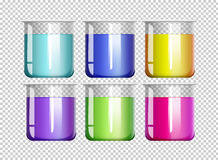 Six bechers remplis de liquide coloré illustration libre de droits