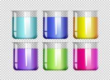 Six bechers remplis de liquide coloré illustration de vecteur