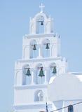 Six bells at Pyrgos, Santorini, Greece. Stock Photos