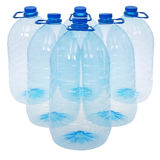 Six big bottles of water (Clipping path) Royalty Free Stock Photography