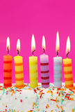Six birthday candles Royalty Free Stock Photography