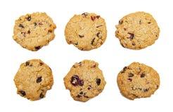 Six biscuits de farine d'avoine avec des canneberges photographie stock