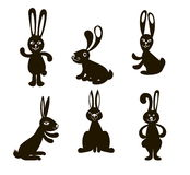 Six black  Doodle rabbits Stock Images