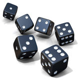 Six black game dices isolated Royalty Free Stock Photography