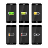 Six black smartphones with glossy batteries icons with different charge level Stock Photos