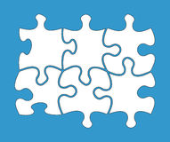 Six blank jigsaw pieces Stock Photography