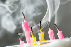 Six blow out candles royalty free stock image
