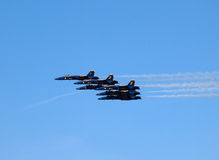 Six Blue Angels fly in tight formation royalty free stock photos