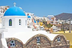 Six blue church domes in Ia, Santorini. Royalty Free Stock Photography