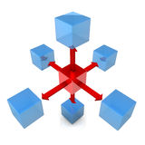 Six Blue Cubes With Red Cube Royalty Free Stock Images