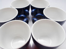 Six blue cups Royalty Free Stock Images