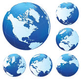 Six blue globes. Six different blue and white globesSix different blue and white globes. All parts of image are editable. Use gradient mesh. No transparency Stock Illustration