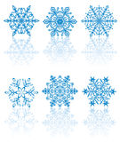 Six Blue Snowflakes. Different forms of Snowflakes, illustration Stock Photography