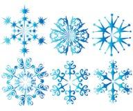 Six blue snowflakes Stock Photo